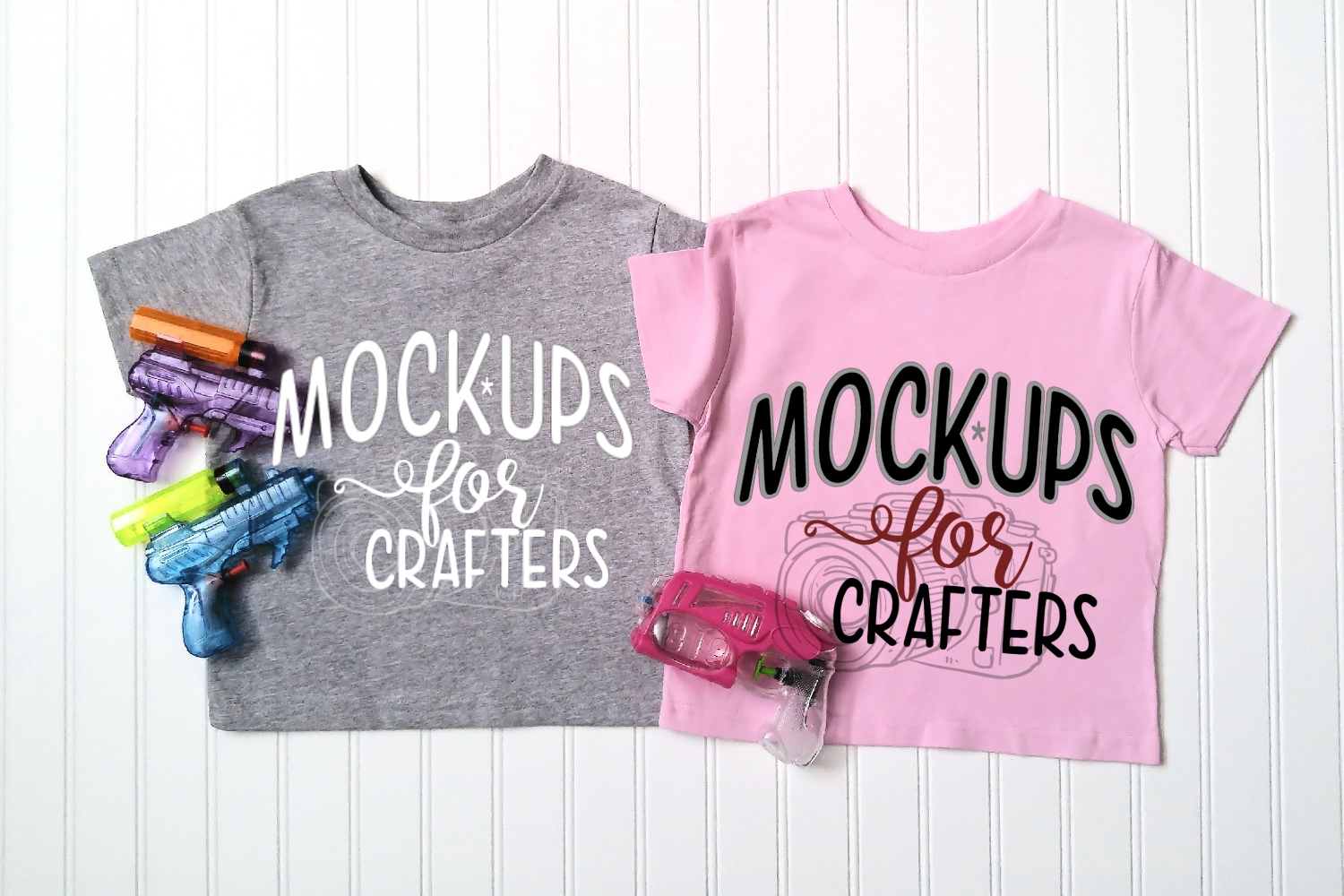 Children's Pink & Gray Gildan T's - with water guns example image 1