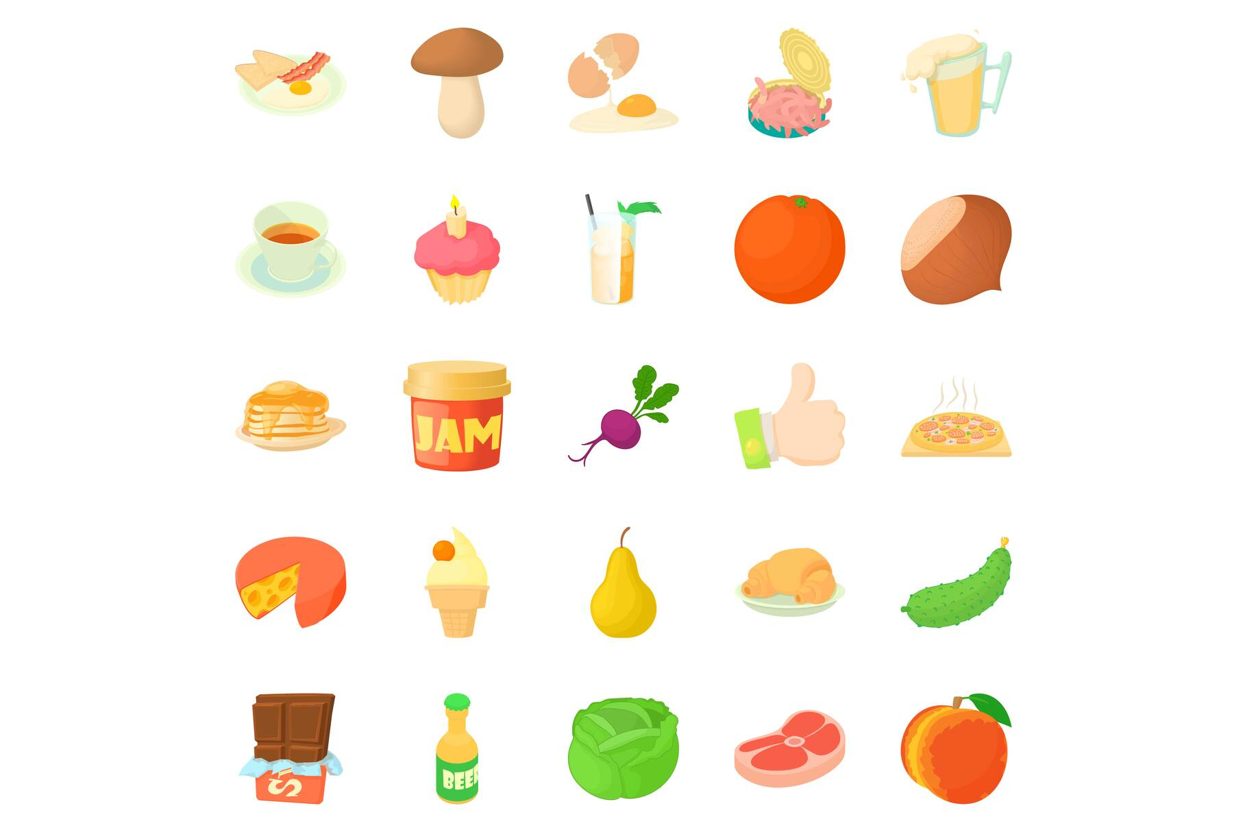 Afternoon snack icons set, cartoon style example image 1