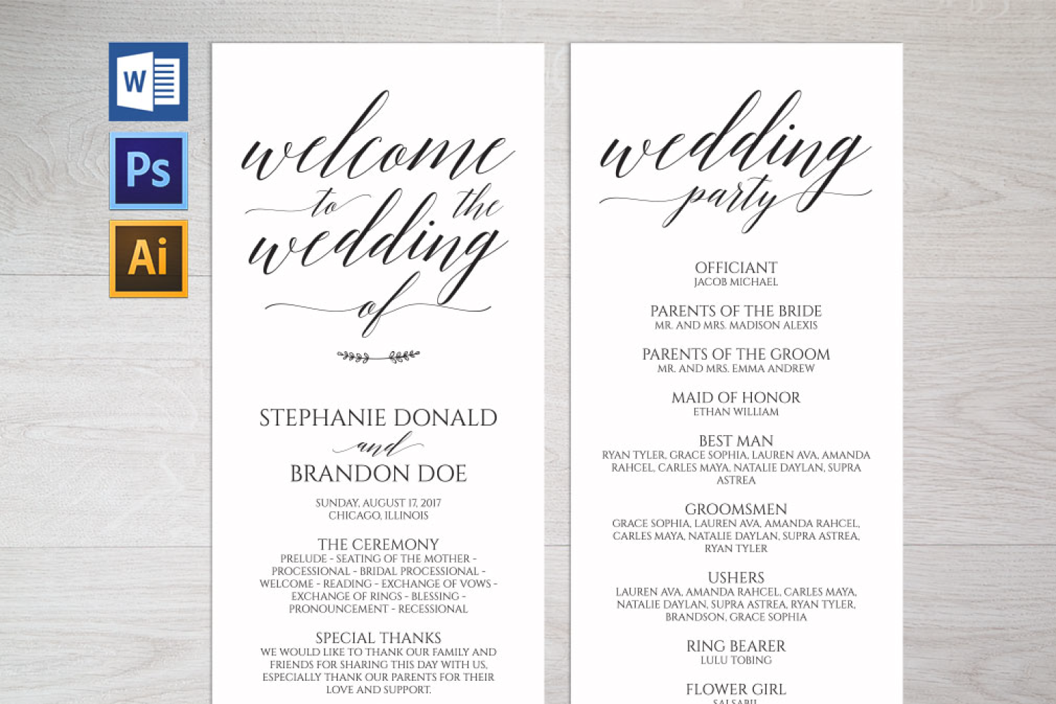 Wedding Program Template (126940)  Card Making  Design Bundles