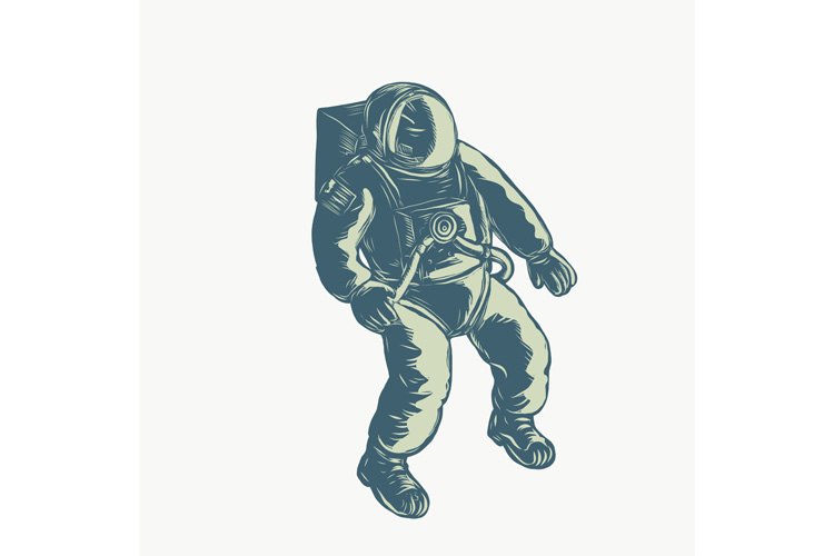 Astronaut Floating in Space Scratchboard example image 1