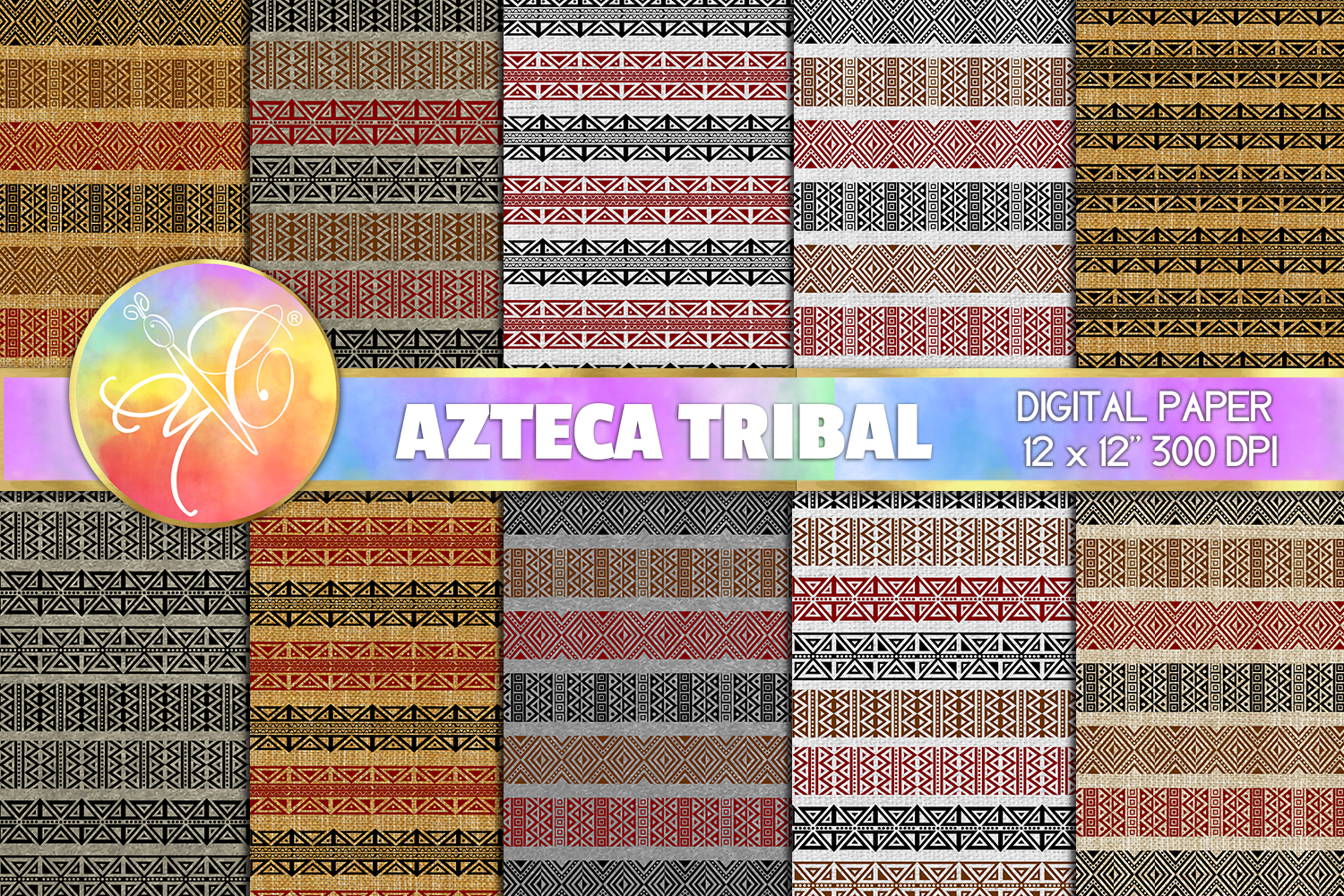 Azteca Tribal Digital Paper, Mexican Paper, Linen Paper example image 1