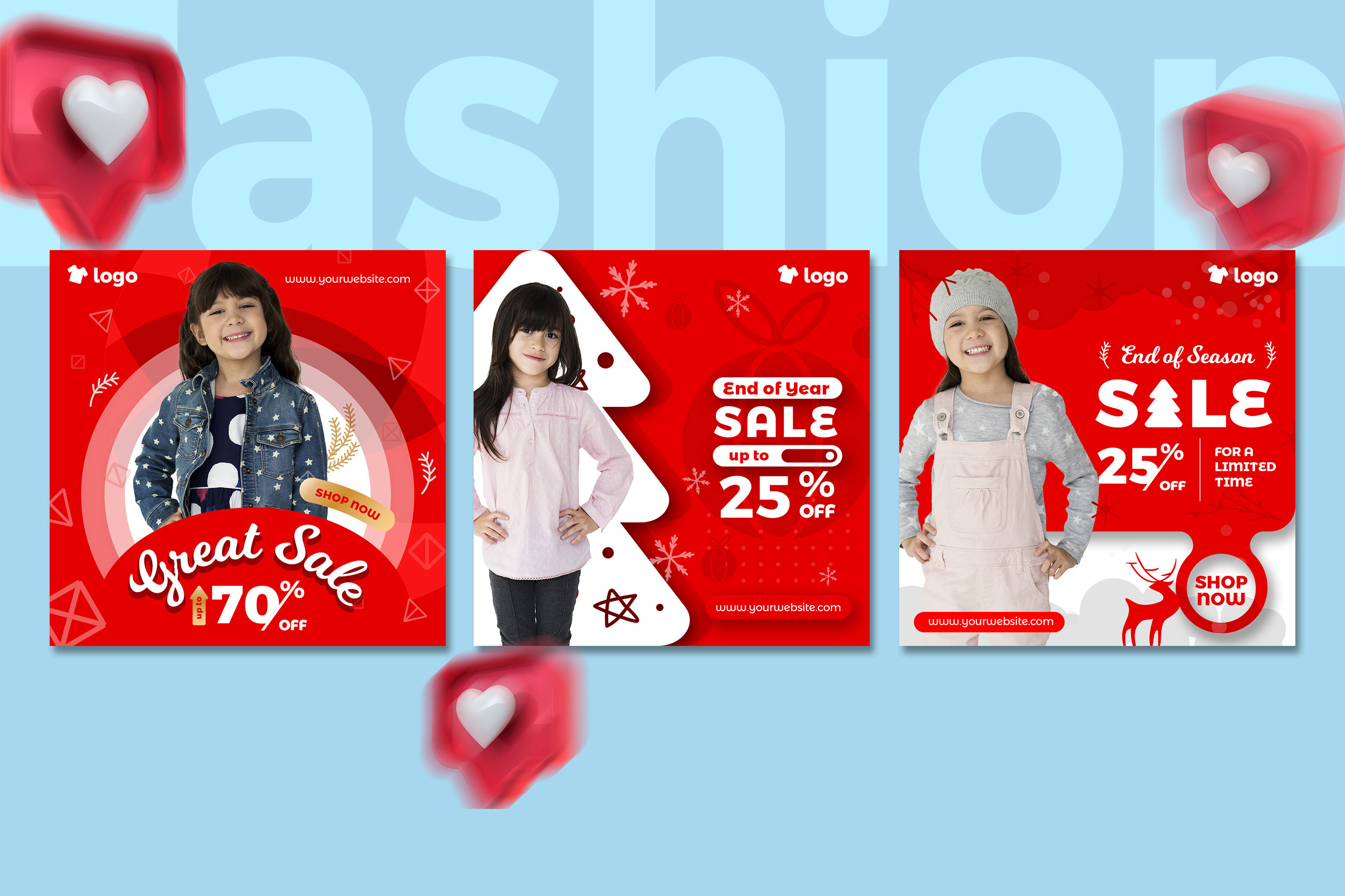 Kids Fashion Winter Sale Social Media Post template example image 5