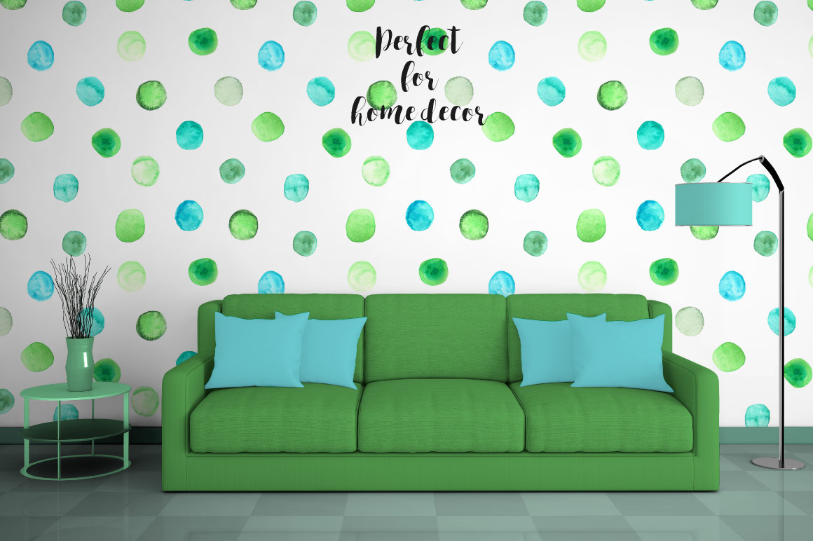 Watercolor Polka Dot Seamless Patterns example image 6
