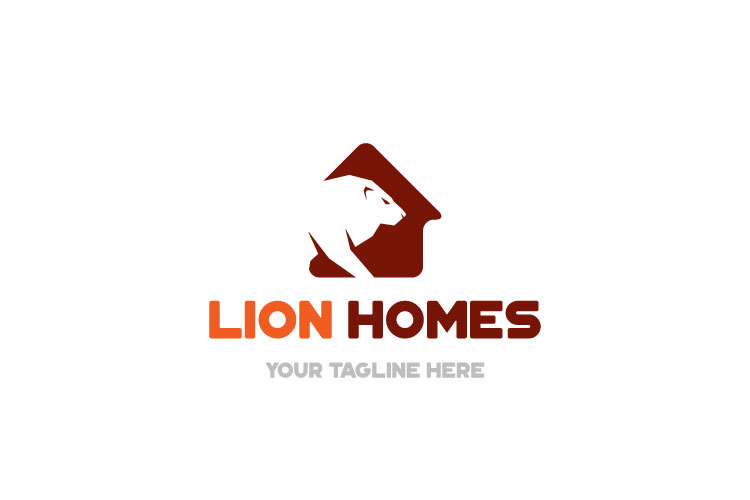 Real Estate, Lion in house Logo example image 4