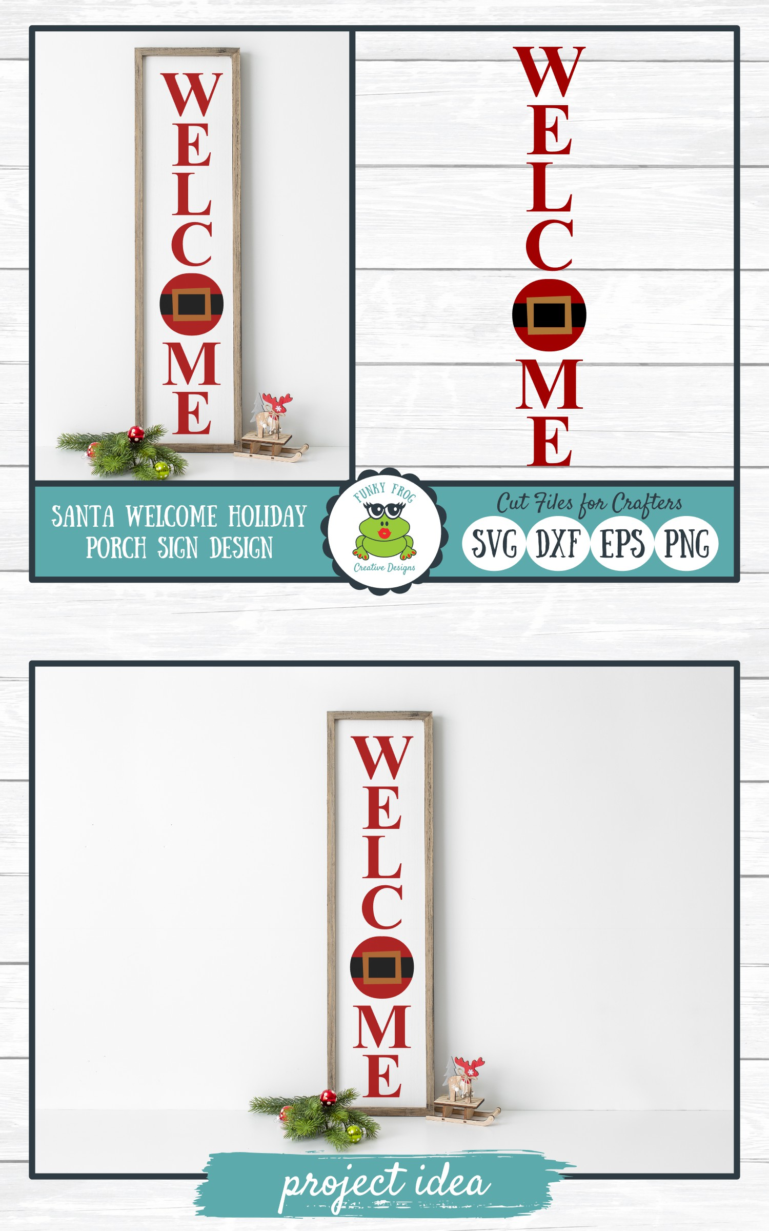 Welcome Holiday Porch Sign Design, SVG Cut File for Crafters example image 4