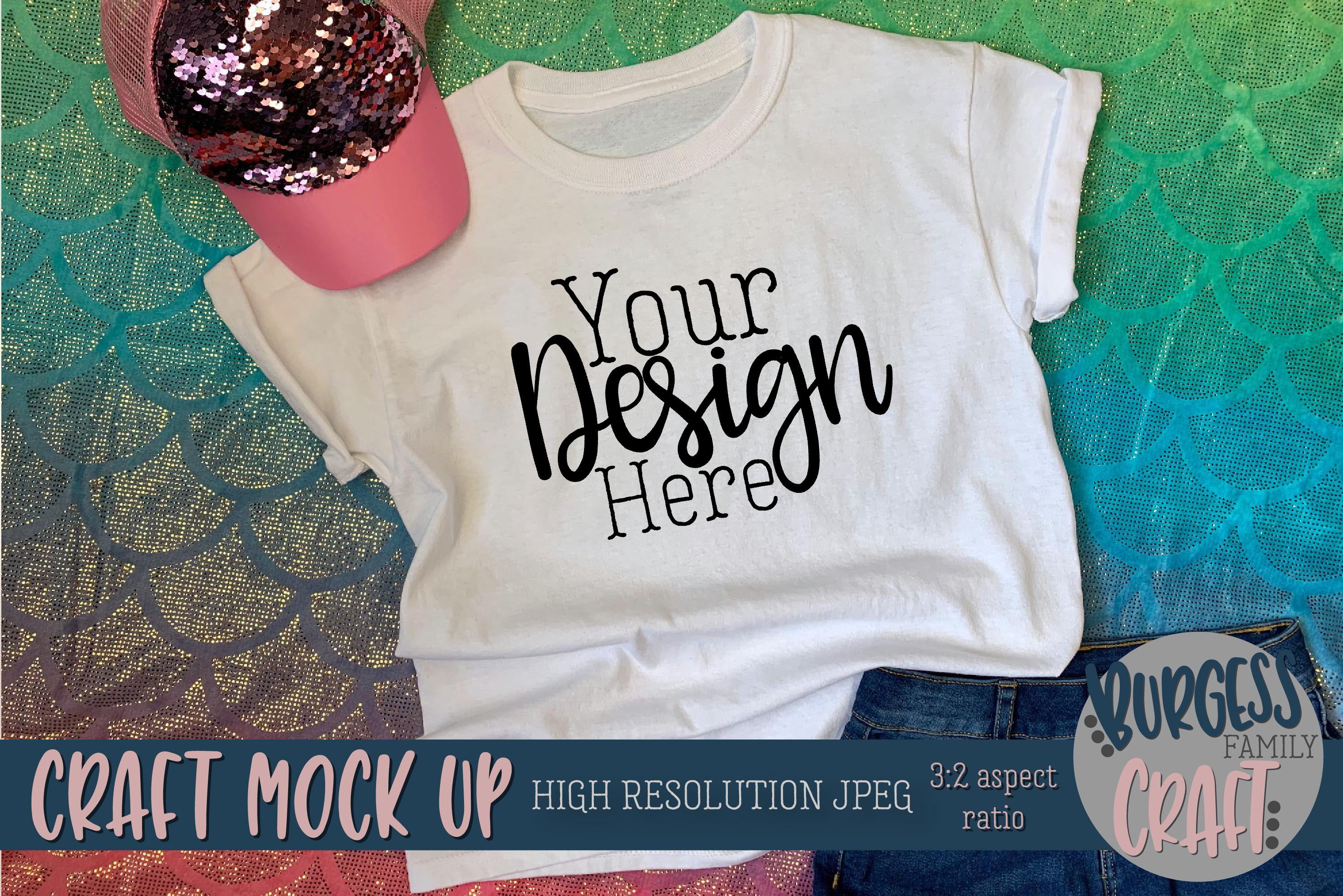 Mermaid shirt Craft mock up | High Resolution JPEG example image 3
