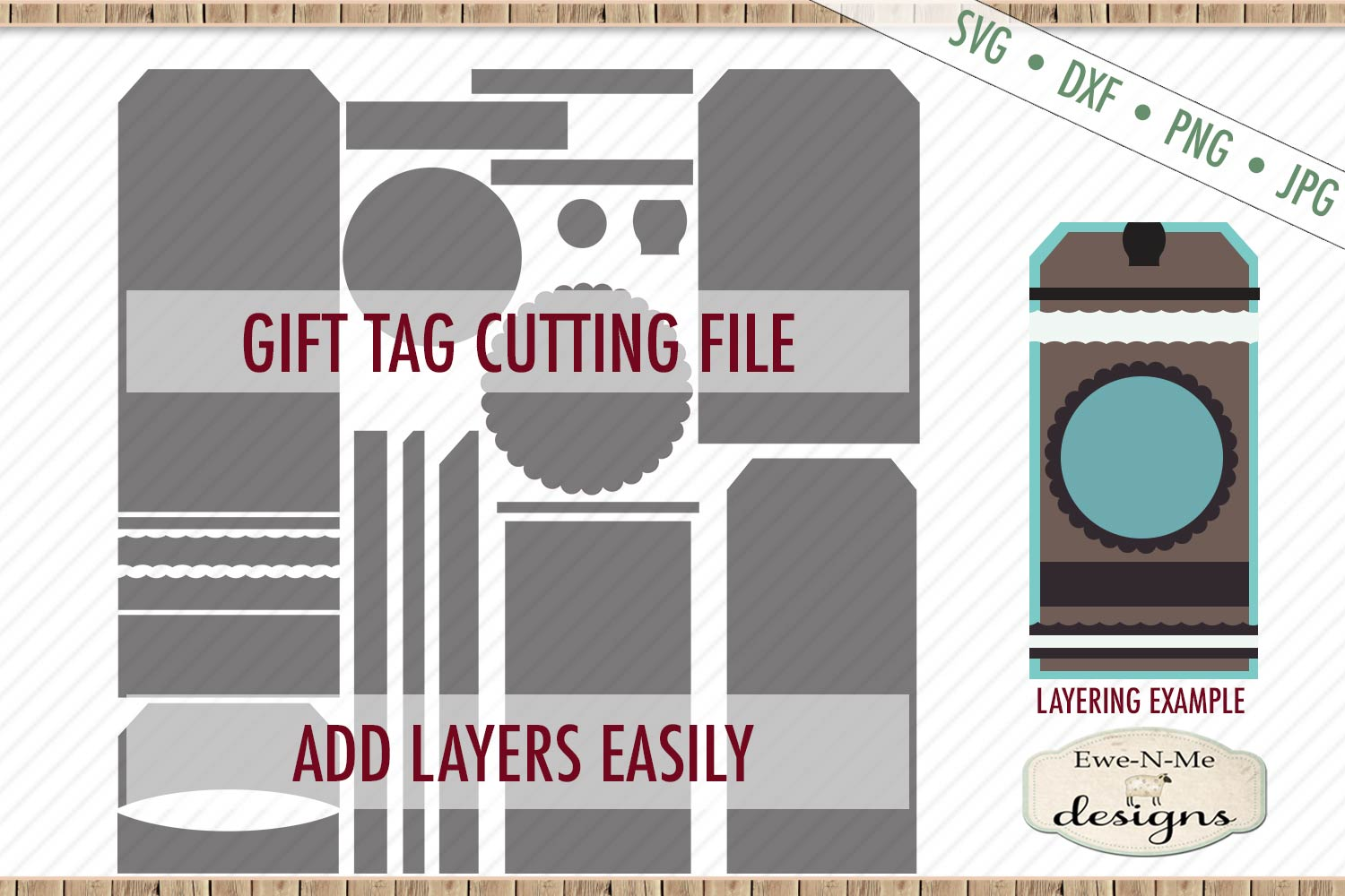 Gift Tag Cut File - Layered Gift Tags - Tag Shape - SVG DXF example image 1