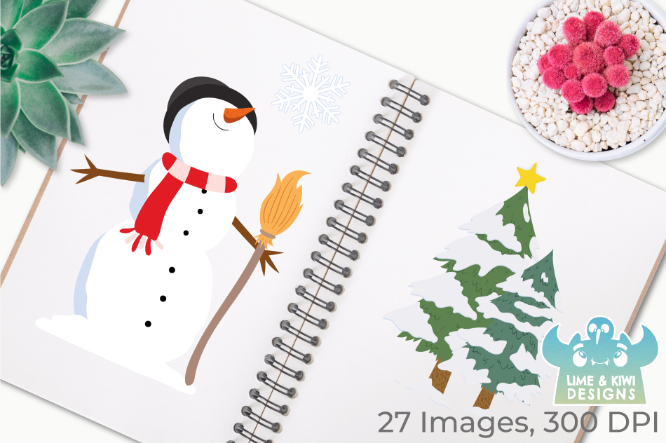 Christmas Snowmen Clipart, Instant Download Vector Art example image 3