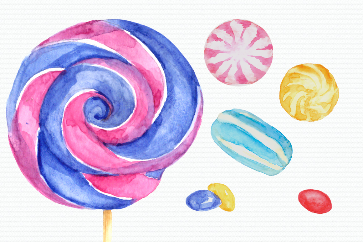 Watercolor Sweets Clip Art Set example image 3
