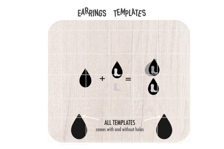Cowboy Boot Earrings Svg, Earrings Svg, Teardrop Earrings Sv example image 2