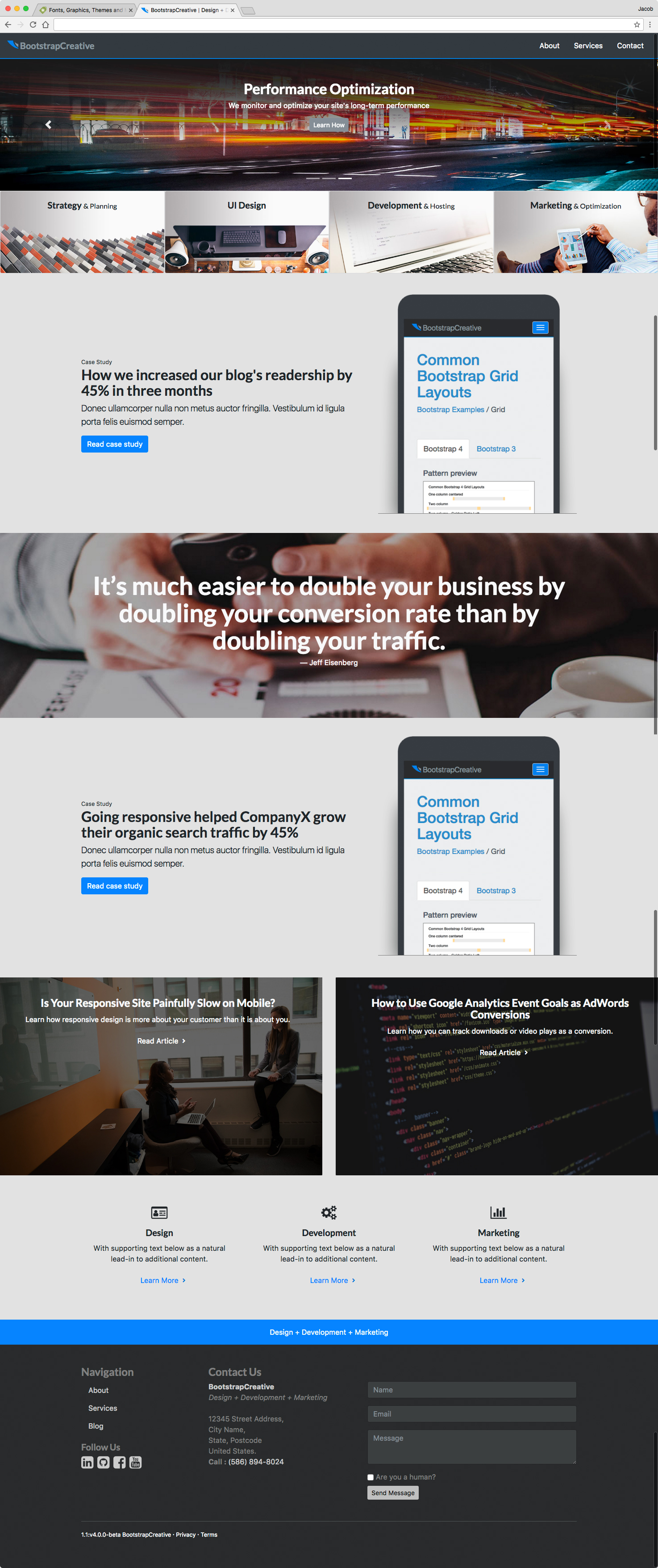 Responsive Marketing Agency Website Template - Bootstrap 4 example image 2