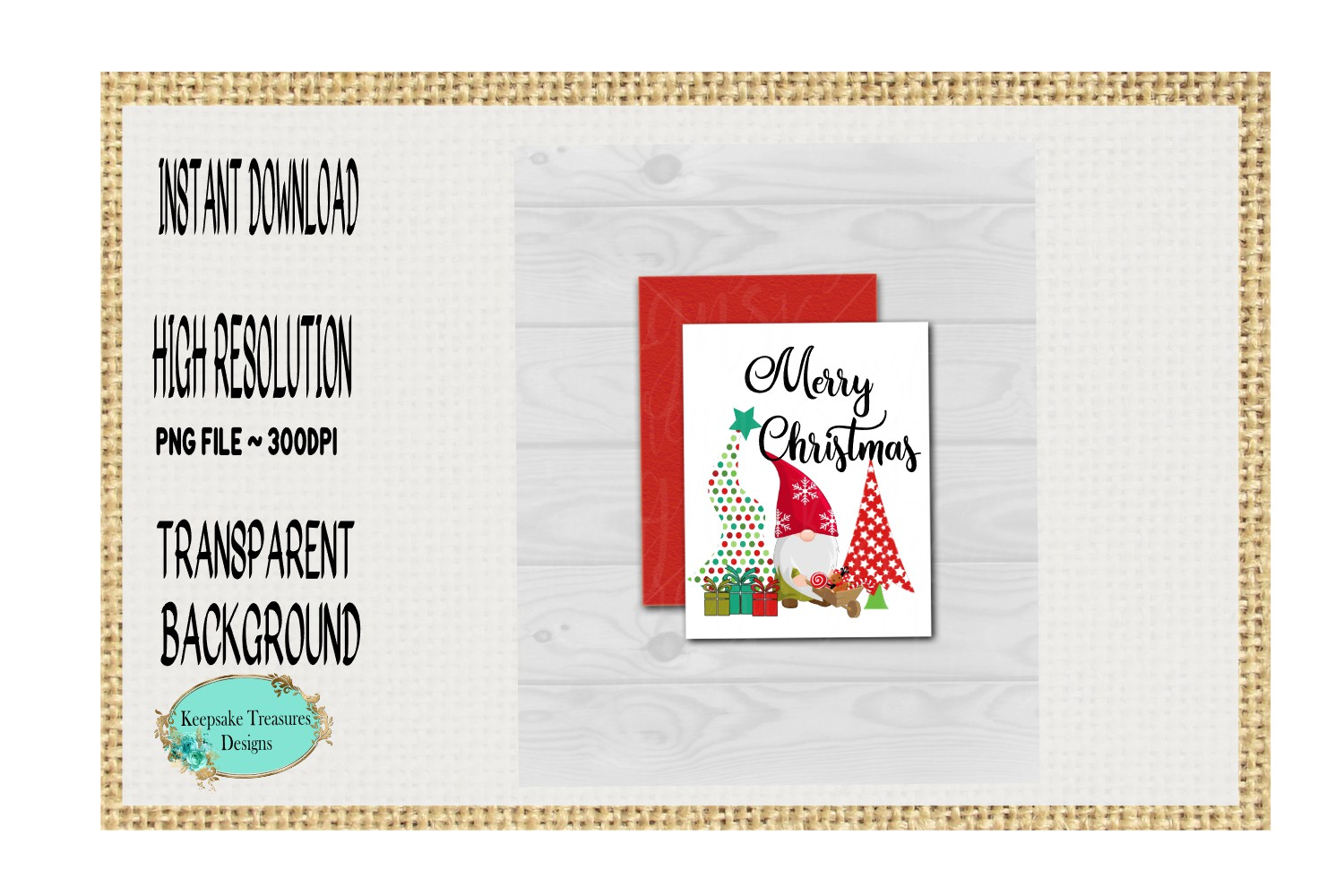 Merry Christmas, Whimsical Gnome, Sublimation Design example image 3