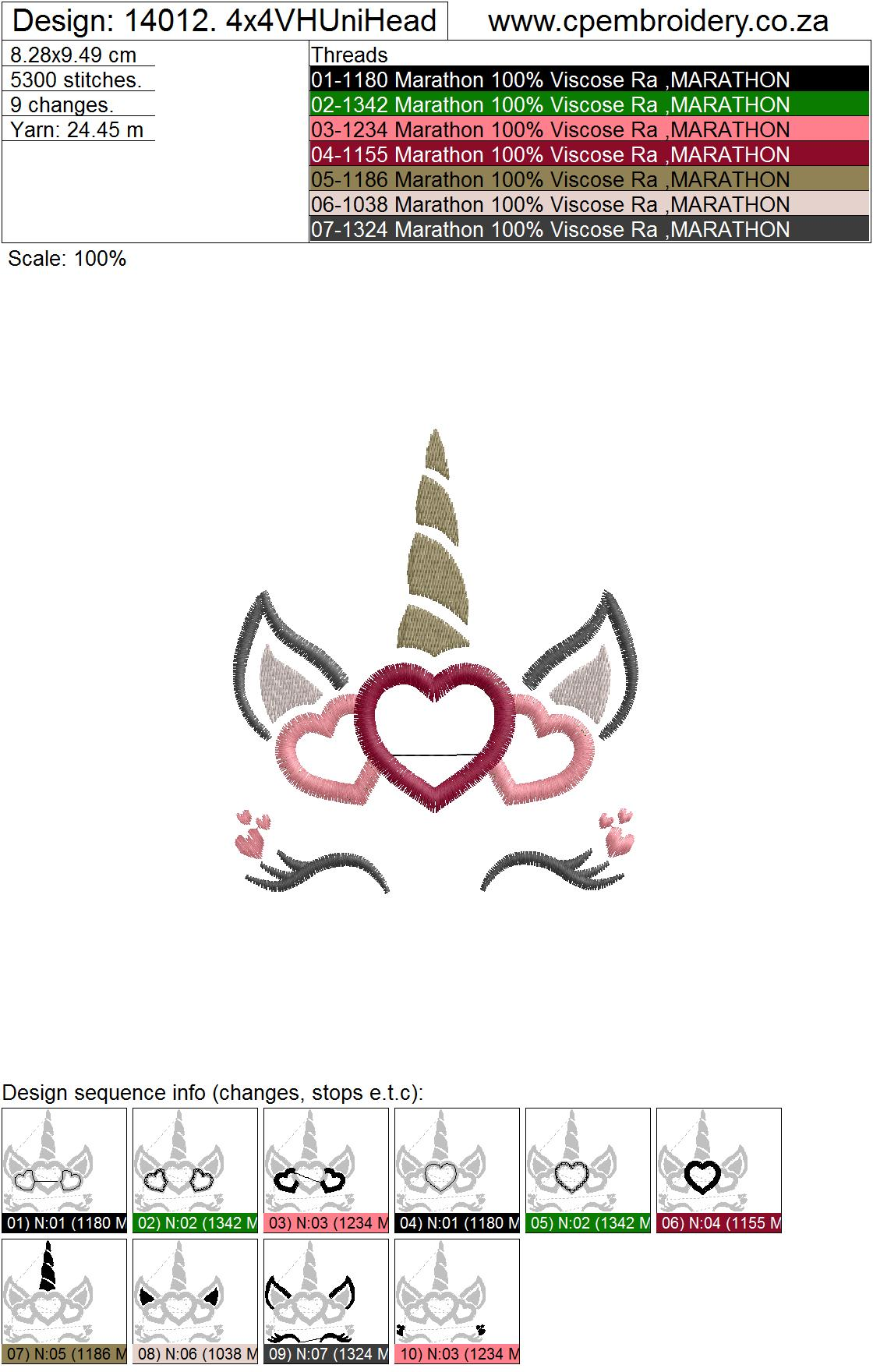 Hearts Unicorn Head Applique Embroidery Design example image 5