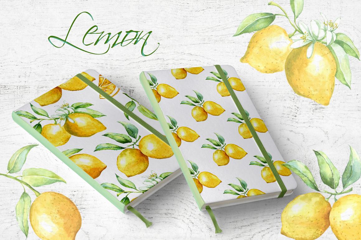 Watercolor lemon set example image 8