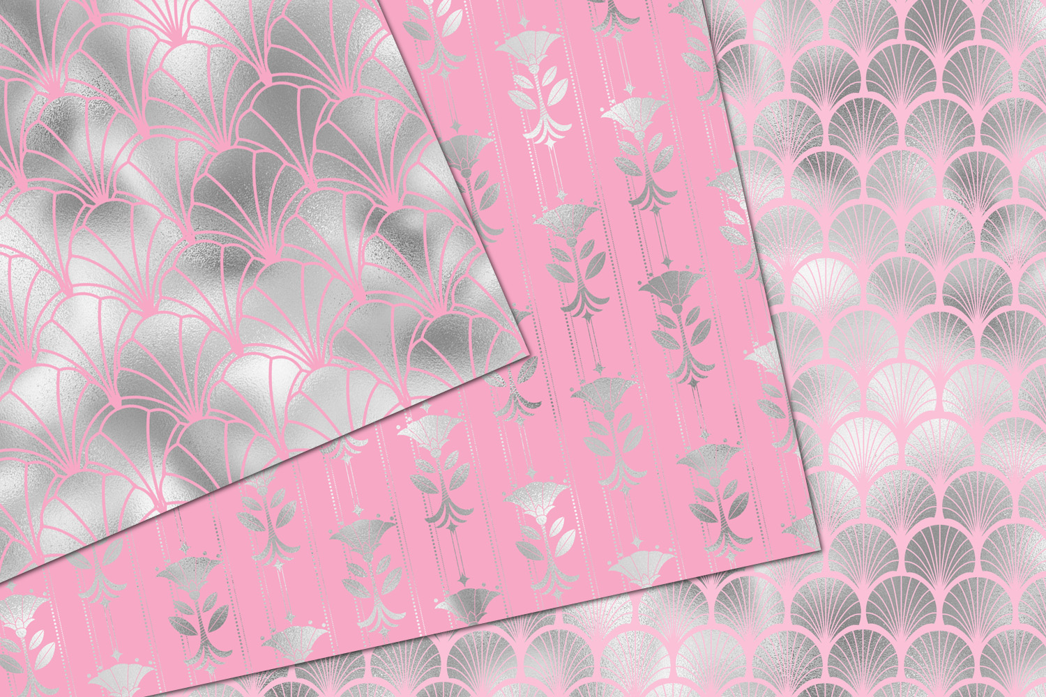 Pink and Silver Art Deco Digital Paper example image 4