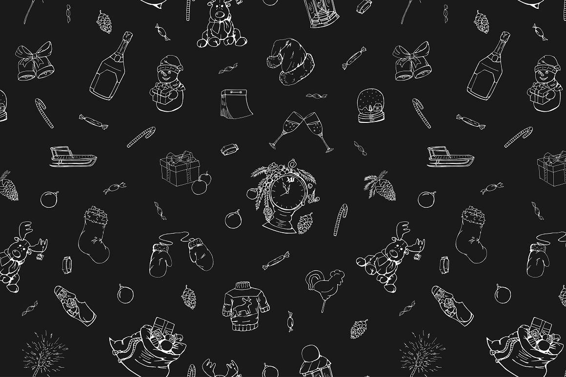 Christmas doodle set + patterns example image 8