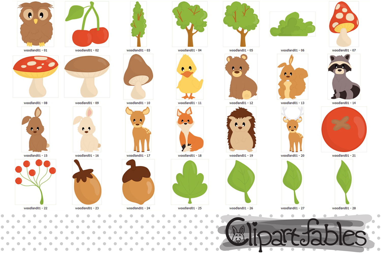 Woodland Clipart, Cute forest animals and DIGITAL papers example image 3