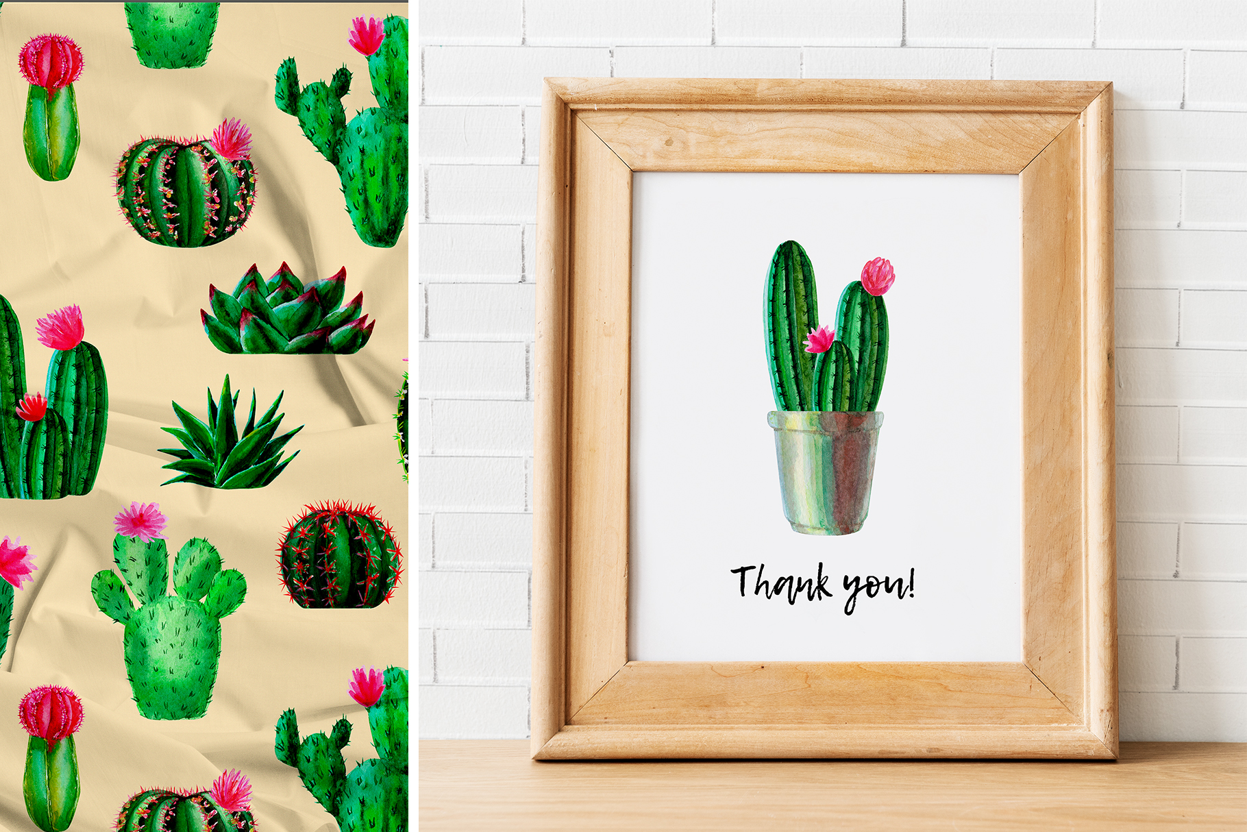 Watercolor Cactus. Cacti Patterns example image 6