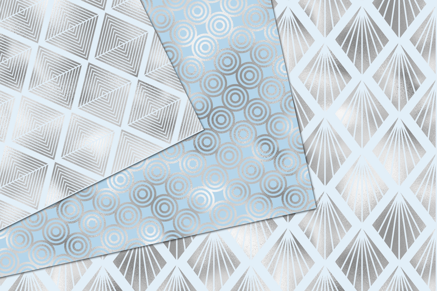 Blue and Silver Art Deco Digital Paper example image 3