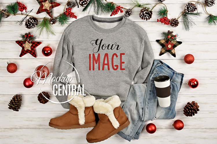 Christmas Gray Sweatshirt Mockup, Shirt Mock Up JPG example image 1