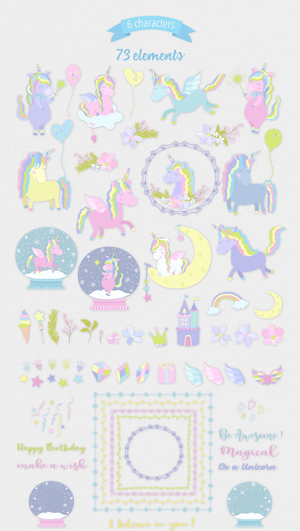 Magic Unicorns Illustration Set example image 10