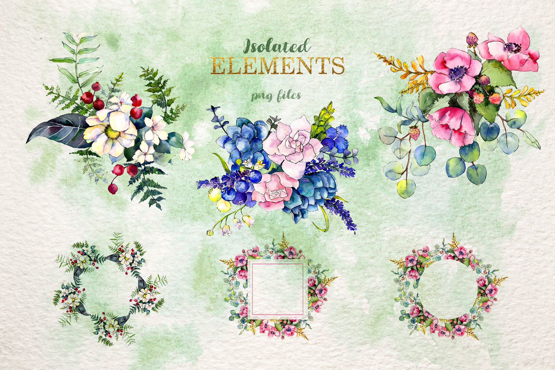Gorgeous Flower Bouquets Watercolor png example image 9