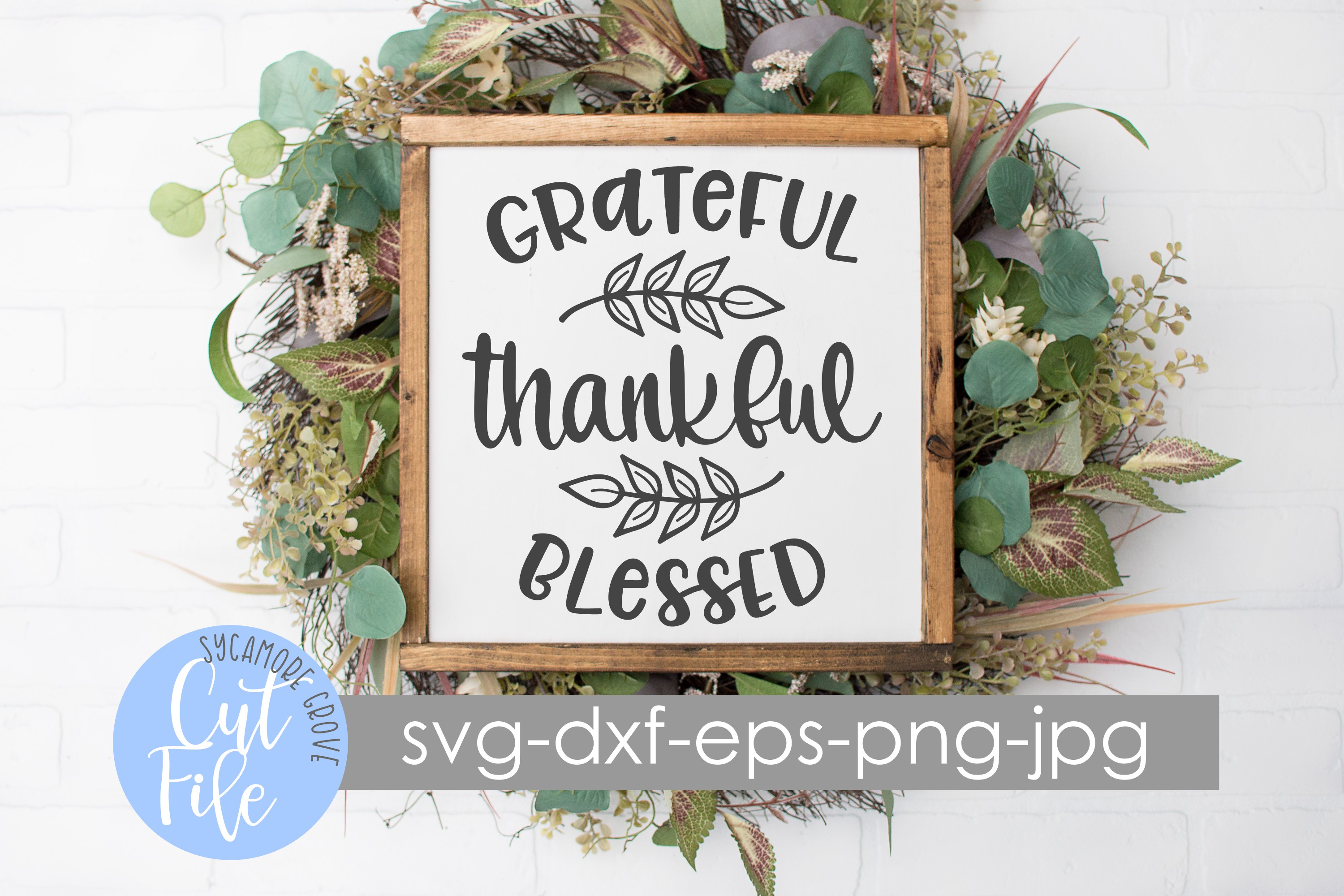 Grateful Thankful Blessed SVG example image 3