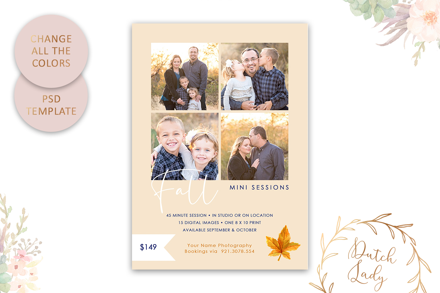 PSD Fall Photo Session Card Template - Design #47 example image 3
