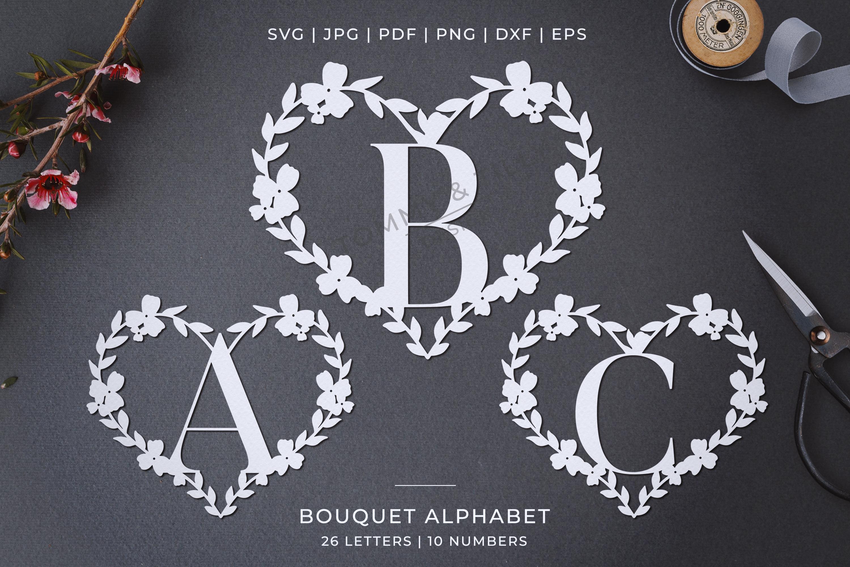 Heart A-Z Alphabet - Papercut SVG DXF PNG EPS JPG PDF example image 1