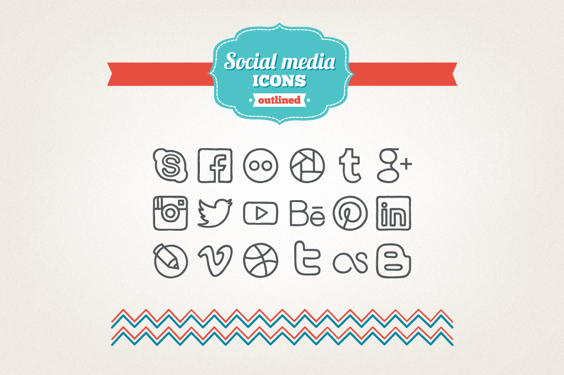 Hand Drawn Social Media Icons example image 1