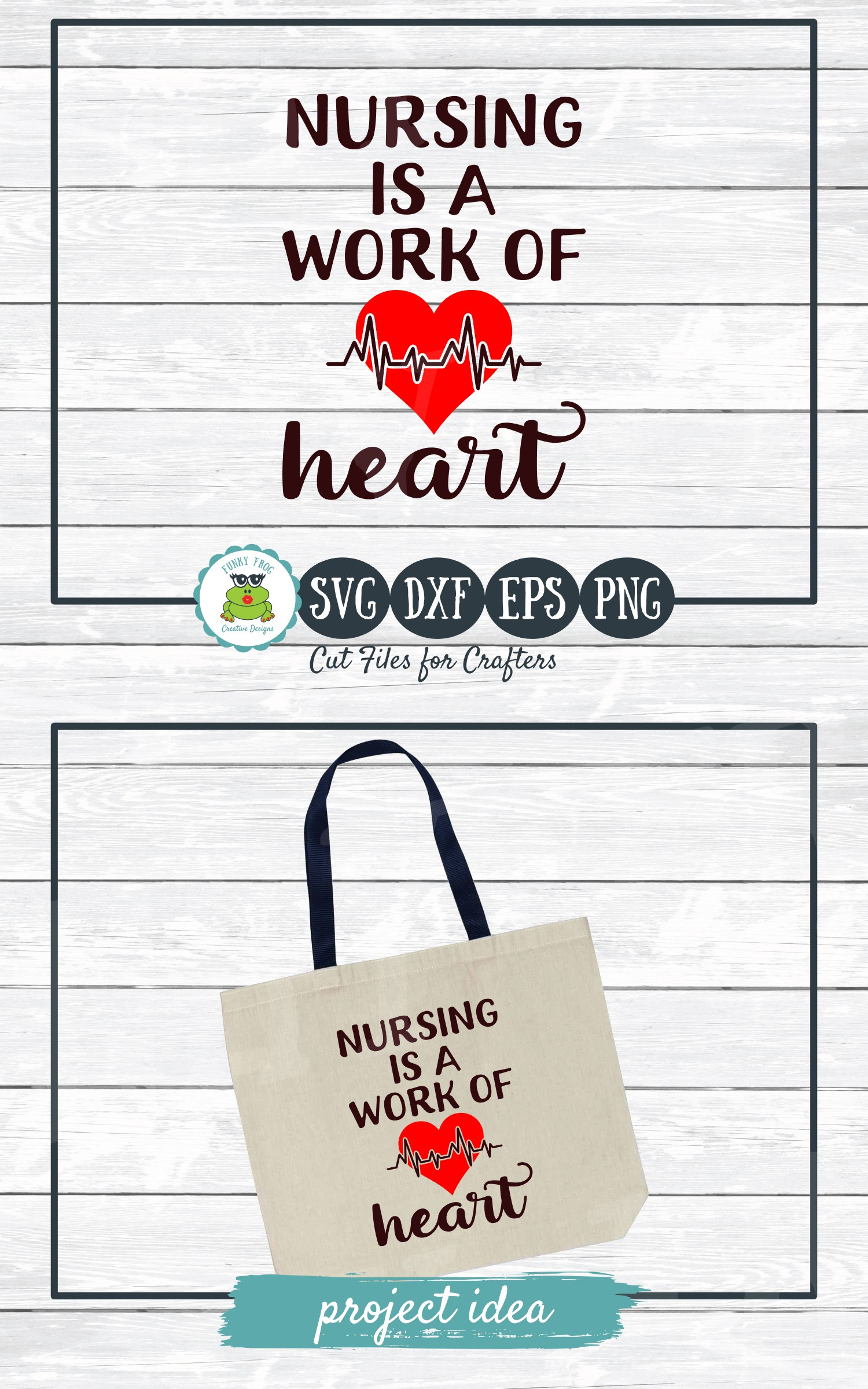 Nursing is a Work of Heart SVG Cut File for Crafters example image 3