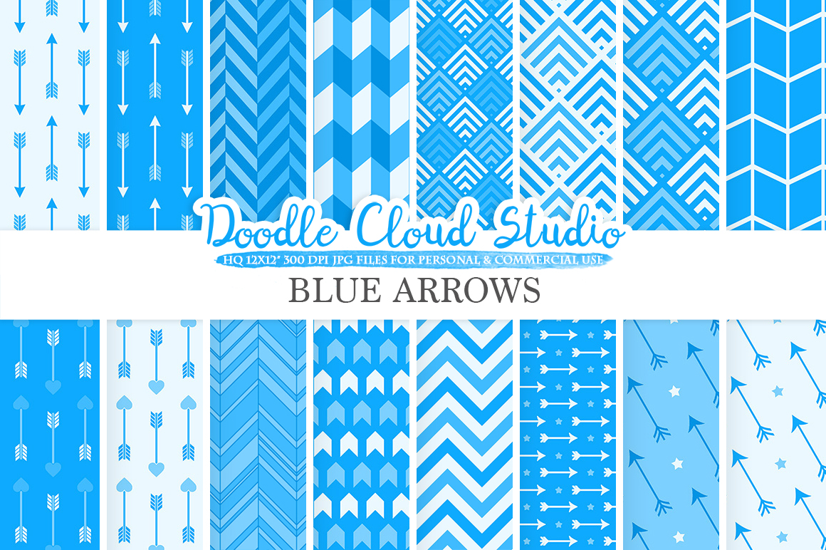 Blue Arrows digital paper, Azure Arrow patterns tribal archery chevron triangles backgrounds Instant Download, for Personal & Commercial Use example image 1