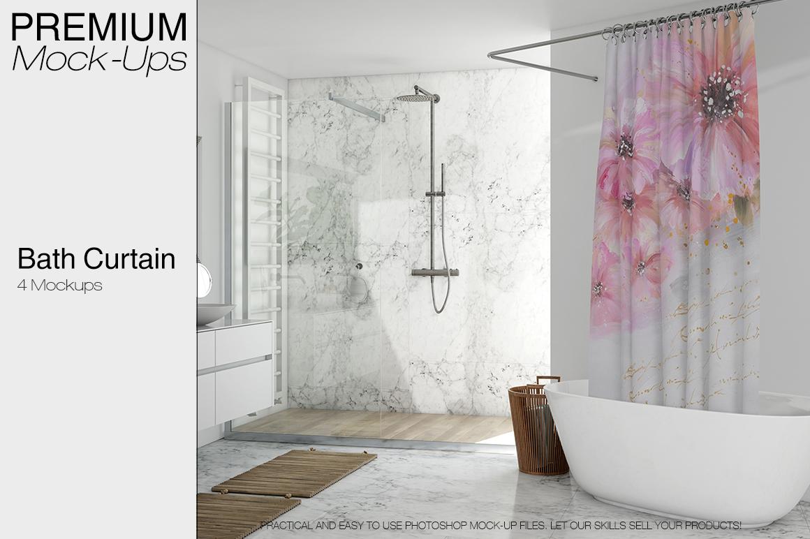 Bath Curtain Mockup Pack example image 1