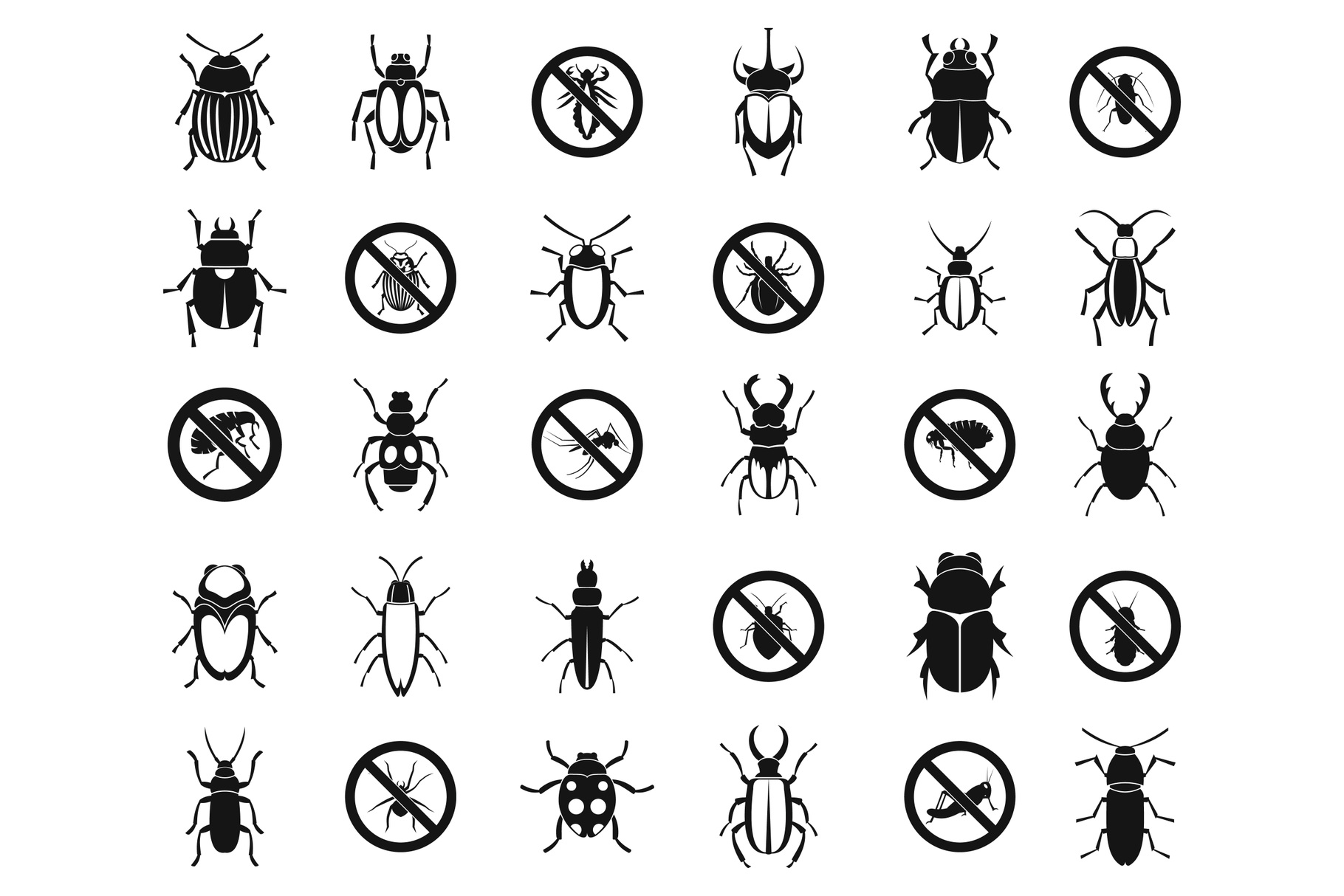 Bugs icon set, simple style example image 1