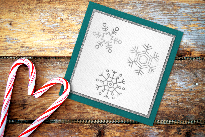 Snowflake Trio SKETCH Single Line Pen & Foil Quill SVG example image 1