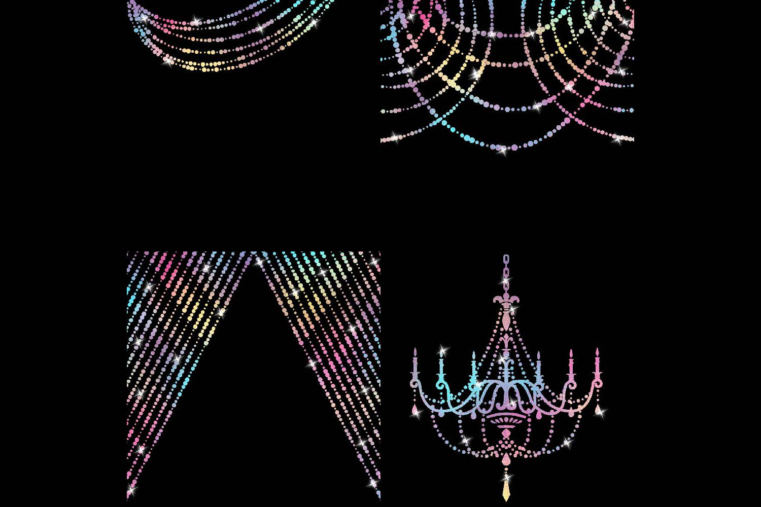 Unicorn Colors String Lights Clipart example image 4