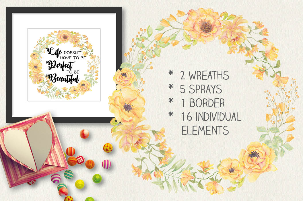 Watercolor clip art bundle: 'Buttercup Blooms' example image 2