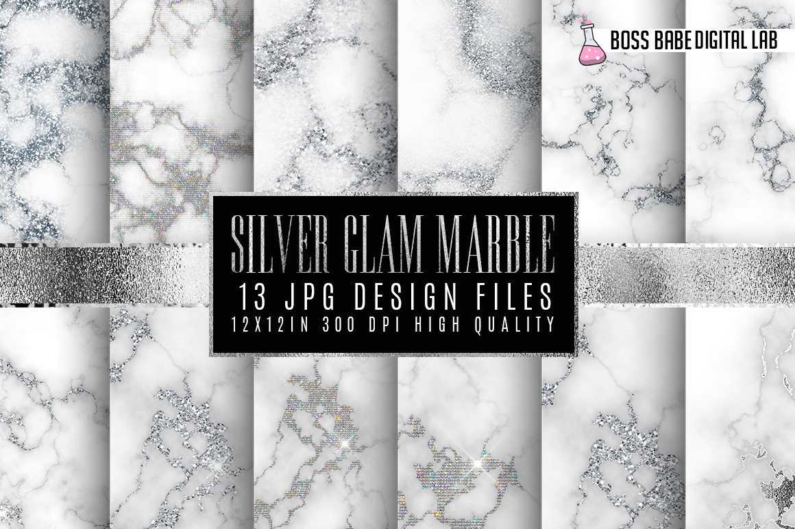 Silver and Glam Marble Digital Papers example image 1