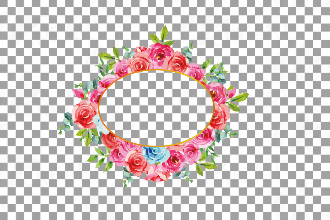 Boho pink and blue floral frames watercolor clip art pack example image 17