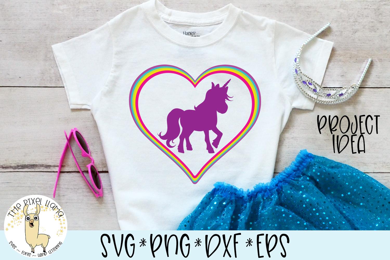 Rainbow Heart Unicorn SVG Cut File example image 2