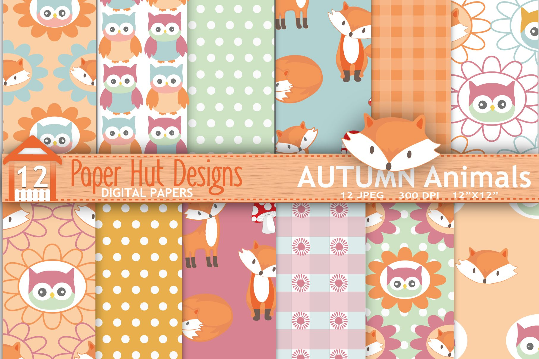 Fox and Owl Digital Papers example image 1
