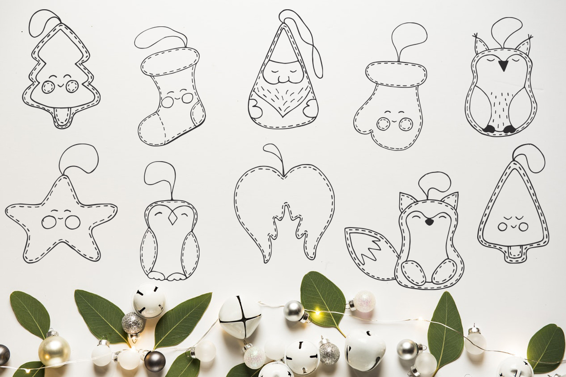 Christmas toys Hand drawn decorative Set example image 3