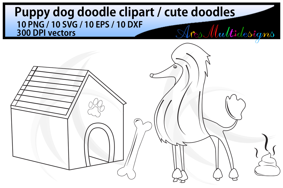 dog doodle clipart / hand drawn doodle dogs / cute puppy doodles / digital clipart / vector doodle / Eps / Svg / Dxf / Png / svg doodles / isolated example image 2