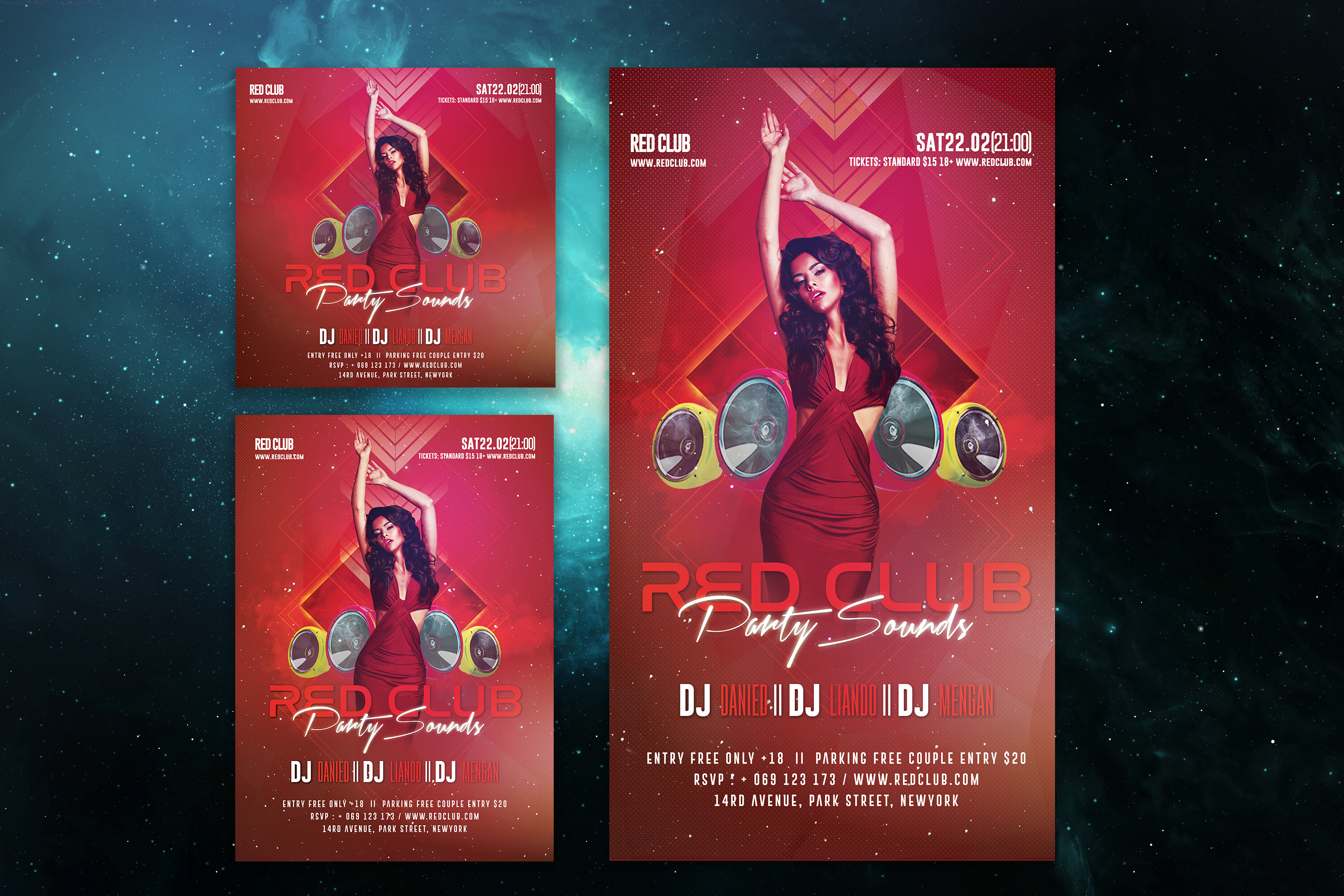 Red Club Party Sounds Flyer Template example image 3