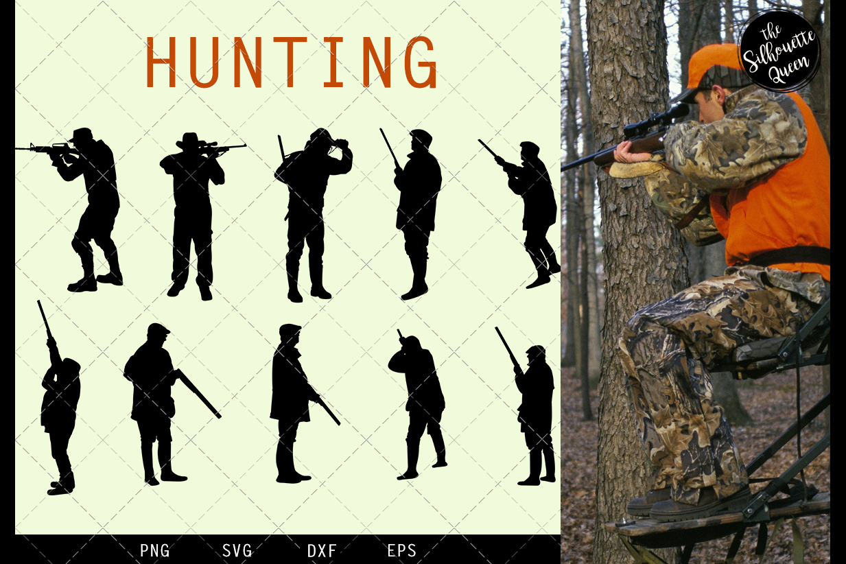 Hunting svg file, Hunter svg cut file, silhouette studio example image 1