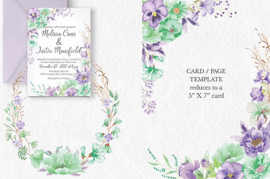 'Violet and Mint': watercolor clip art bundle example image 4