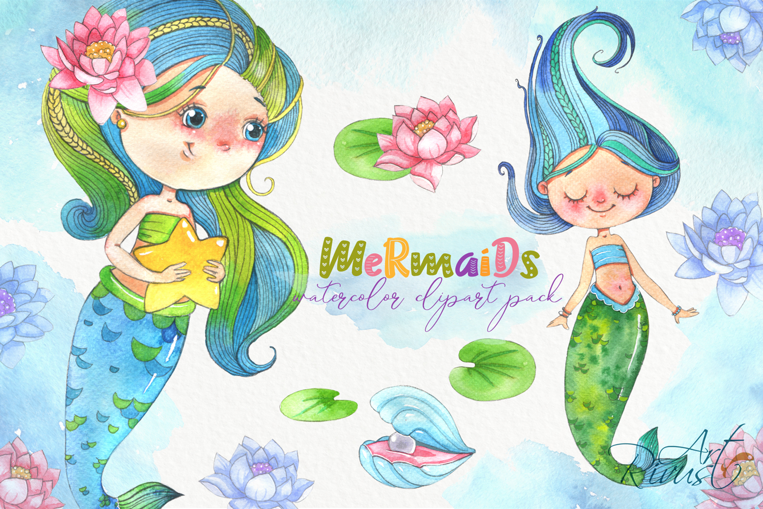 Cute mermaids clipart pack. Watercolor clip art baby shower example image 1