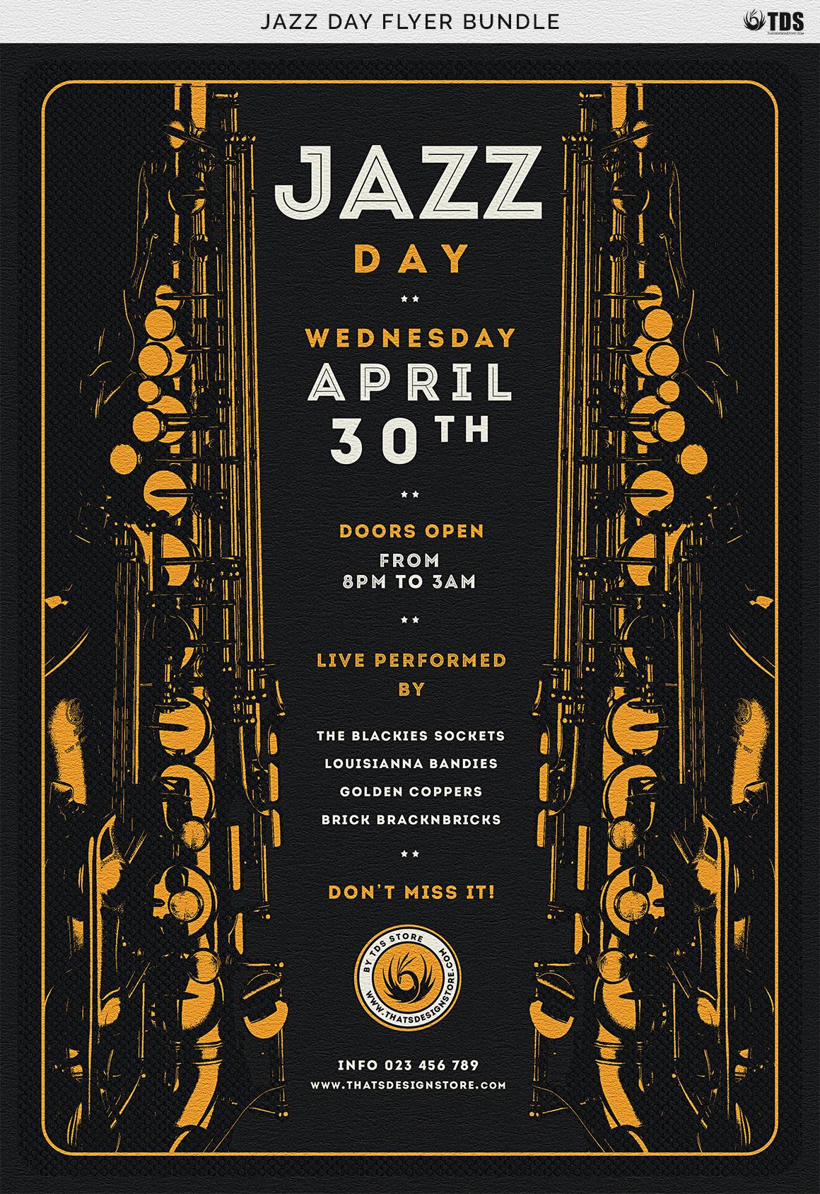 Jazz Day Flyer Bundle example image 13