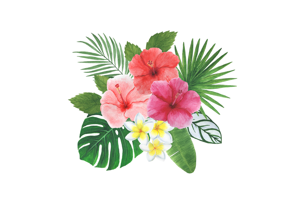 Watercolor tropical clipart example image 2