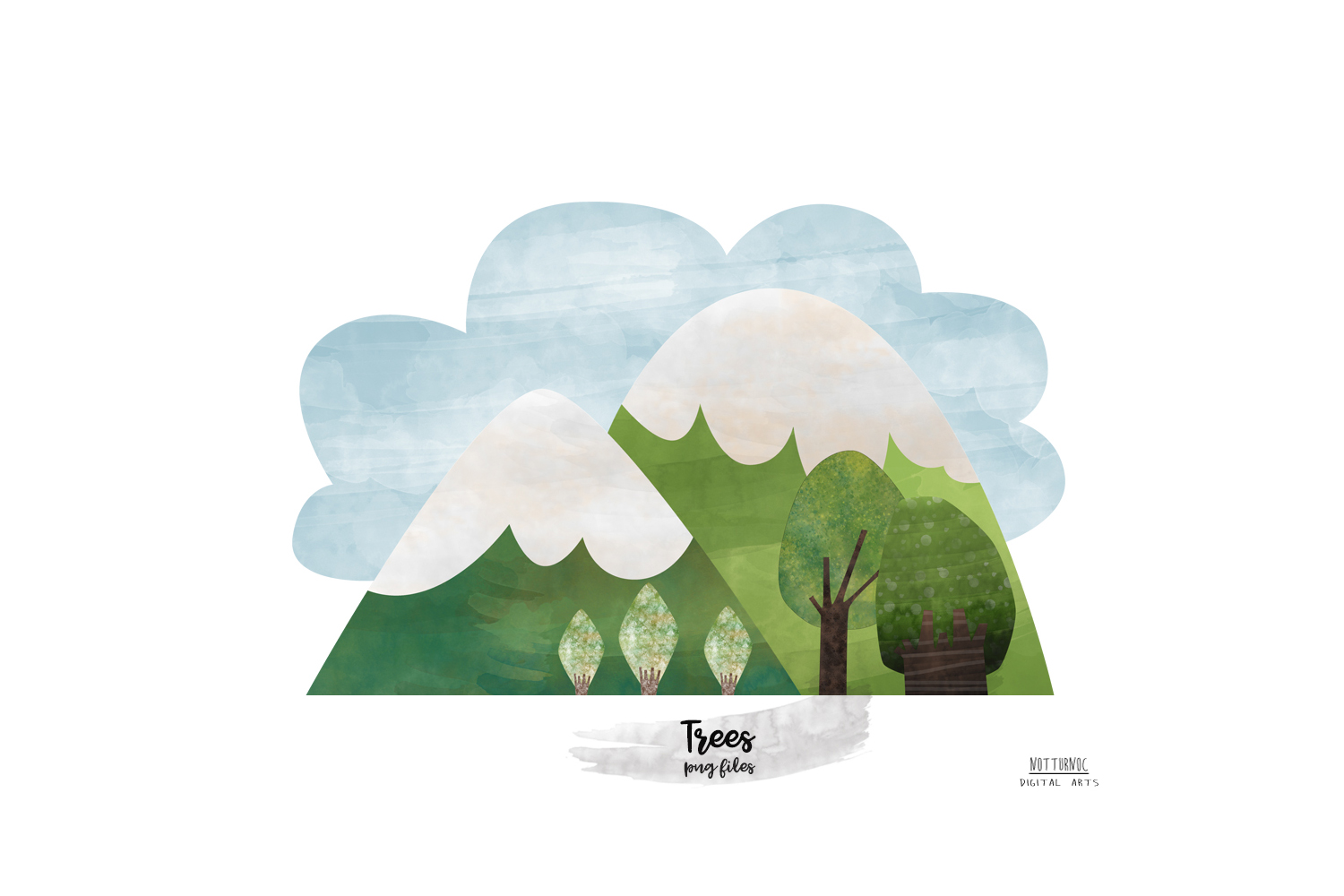 Watercolor Mountain Tree clipart. Mountain and tree clipart example image 6